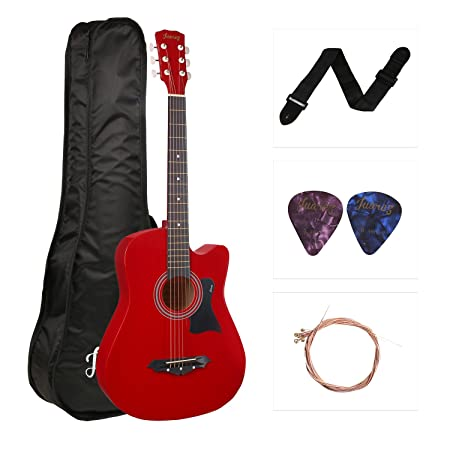 JUAREZ JRZ38C Right Handed Acoustic Guitar (Red, 6 Strings), with Case/Bag and Picks Acoustic Guitar Kits at amazon