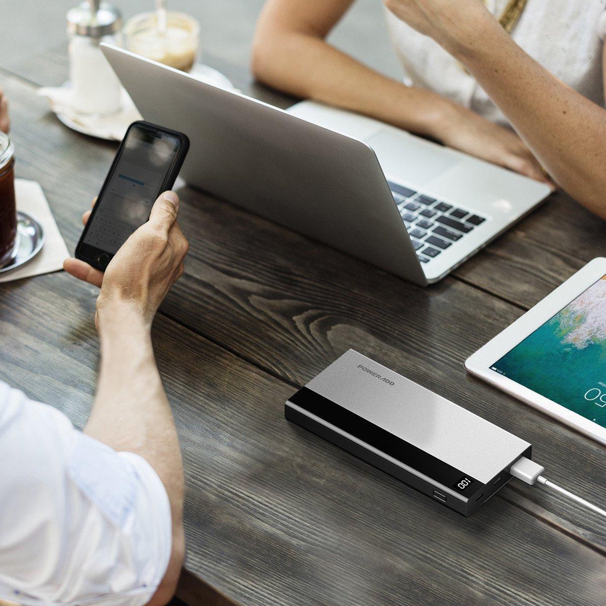 Poweradd 10000 mAh Powerbank Metallische Handy Externe Akkus , LED Bildchirm Bildschirm zeigt die verbleibende Kapazität an, Besitzt Micro USB Input, USB Output, Ein Input/Output USB C Port