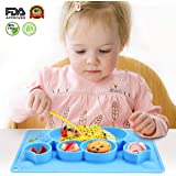Charminer Baby Placemat,Kids Suction Plates,Baby Plate&Toddler Bowls in One,Feeding Tray,Silicone Non Slip Mats for Baby Led Weaning,Cute Animal Shape fits Highchair Trays and All Smooth Surfaces