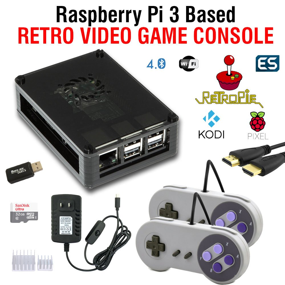 Raspberry Pi 3 based retro games emulation system retropie - 32GB edition with 2x snes type controllers