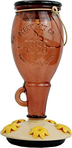 Perky-Pet 9105-2 Sugar Maple Top-Fill Glass Hummingbird Feeder Brown 24 oz Capacity