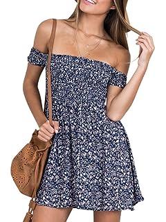 605f608d4718 Simplee Apparel Women s Boho Floral Print Backless Short Beach Dress  Sundress