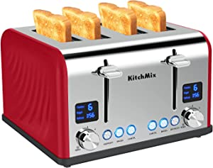 Toaster 4 Slice, KitchMix Bagel Stainless Toaster with LCD Timer, Extra Wide Slots, Dual Screen, Removal Crumb Tray (Red)