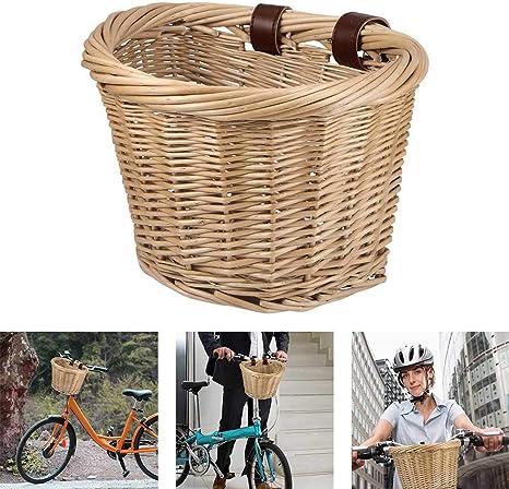 PopHMN Cesta de Mimbre para Bicicleta, Cesta Delantera para Bicicleta con cinturón de Cuero Cesta para Almacenamiento del Manillar para Adultos Accesorio para Bicicleta 26 * 21 * 19CM: Amazon.es: Deportes y aire libre