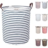 "DOKEHOM DKA0814BLL 19.7"" Large Laundry Basket (Available 17.7"" and 19.7""), Drawstring Waterproof Round Cotton Linen Collapsible Storage Basket (Blue Strips, L)"