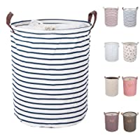 """DOKEHOM DKA0814BL 17.7"""" Large Laundry Basket (Available 17.7"""" and 19.7""""), Drawstring Waterproof Round Cotton Linen Collapsible Storage Basket (Blue Strips, M)"""