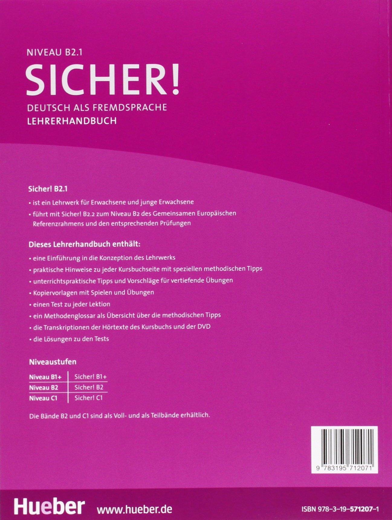 sicher b2 deutsch als fremdsprache paket lehrerhandbuch b2 1 und