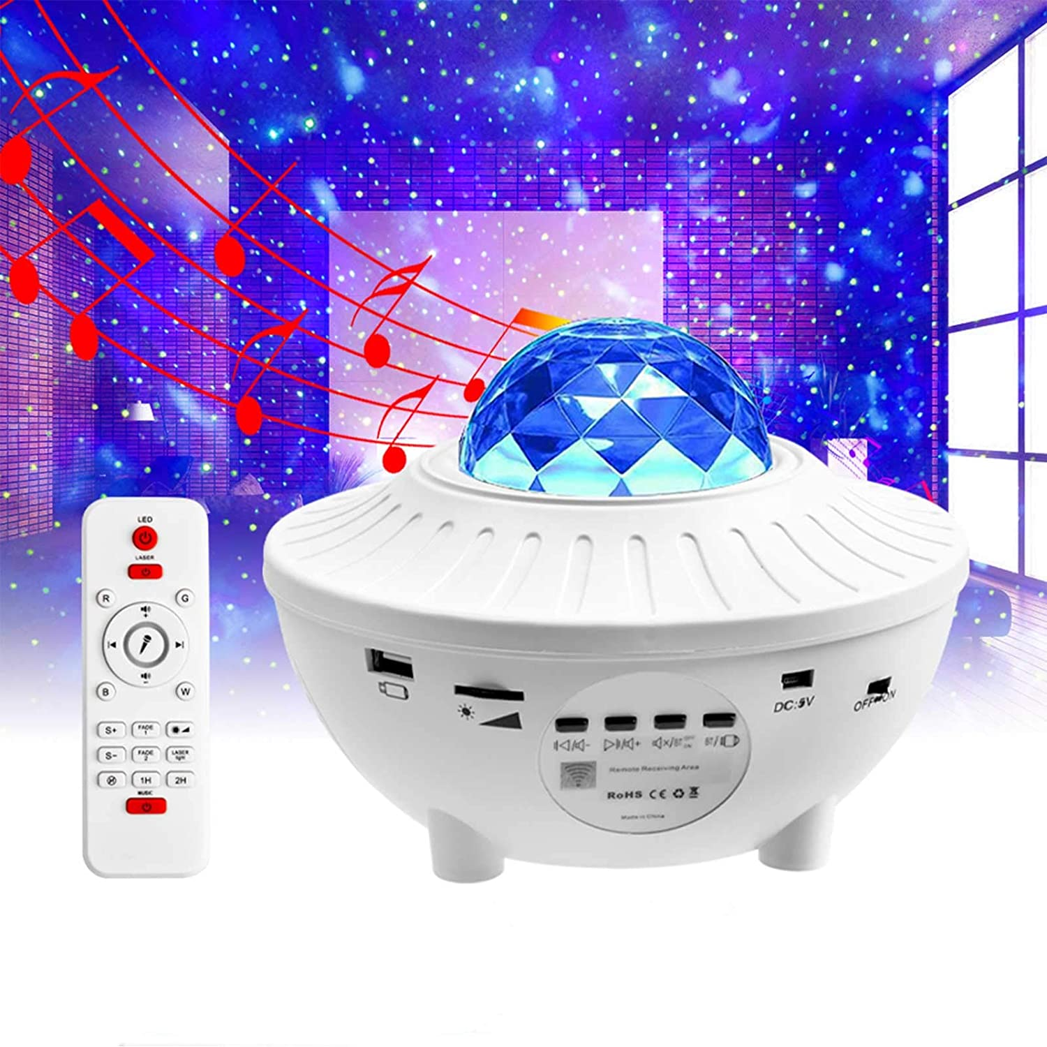 Pinshion Star Projector Light, Bluetooth Speaker Voice Control Christmas Projector Ligh 3-in-1 Sky Twilight Star Ocean Wave Projection LED Night Projector Light for Bedroom Holidays Party Home(White)