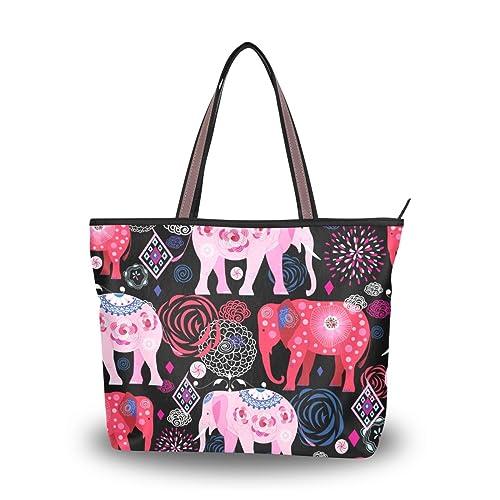 Amazon.com: Mujer Bolsa Grande Bolso Hermoso Elefantes ...