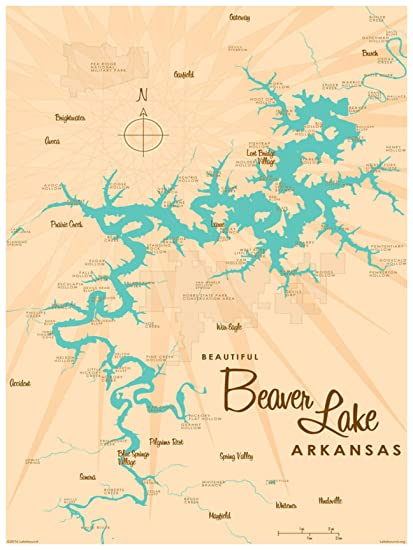 graphic about Printable Map of Arkansas known as : Beaver Lake Arkansas Map Common-Style and design Artwork Print
