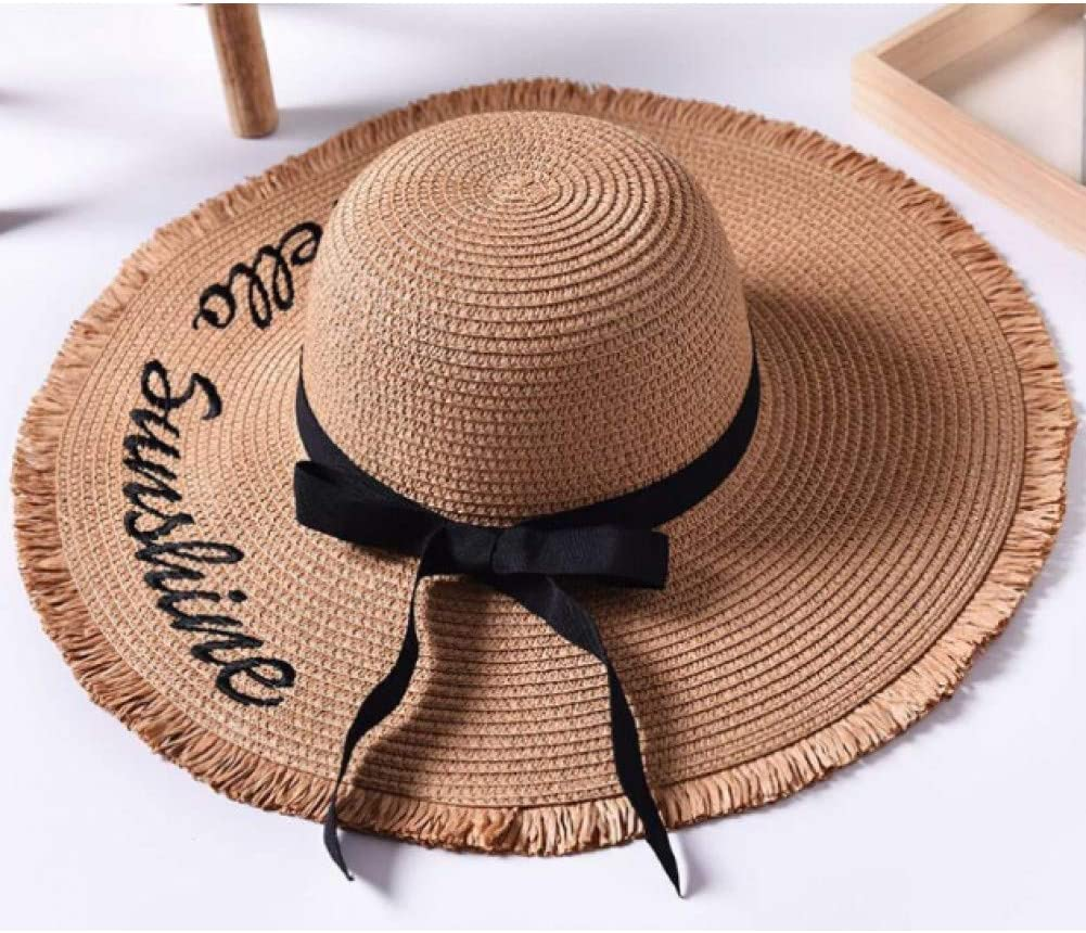 Almenyy Sombrero para el Sol Sombreros para El Sol con Letras Tejidas A Mano para Mujer Cinta Negra con Cordones Sombrero De Paja De ala Grande Sombrero De Playa Al Aire Libre Gorras De Verano