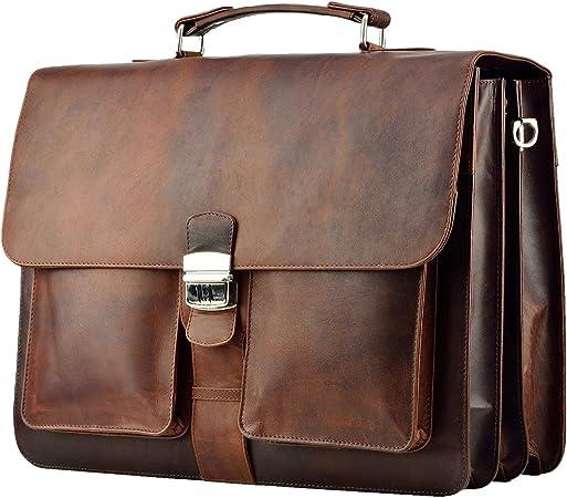 Feynst Aktentasche Umhängetasche 15 6 Zoll Leder Herren Und Damen Laptoptasche Notebooktasche Braun Koffer Rucksäcke Taschen