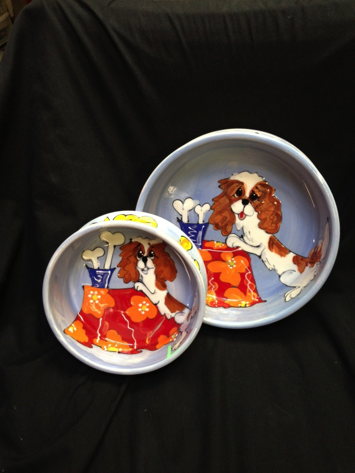 King Charles Cavalier 8'' and 6'' Pet Bowls for Food and Water. Personalized at no Charge. Signed by Artist, Debby Carman.