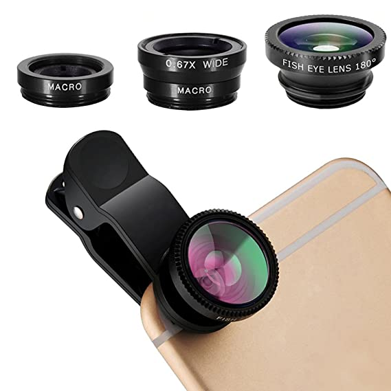 big sale 3130a 1578c pehael 3-in-1 Clip On 180 Degree Fish Eye Lens Plus 0.67X Wide Angle Plus  10X Macro Lens, Universal HD Camera Lens Kit for iPhone 6S/6S ...