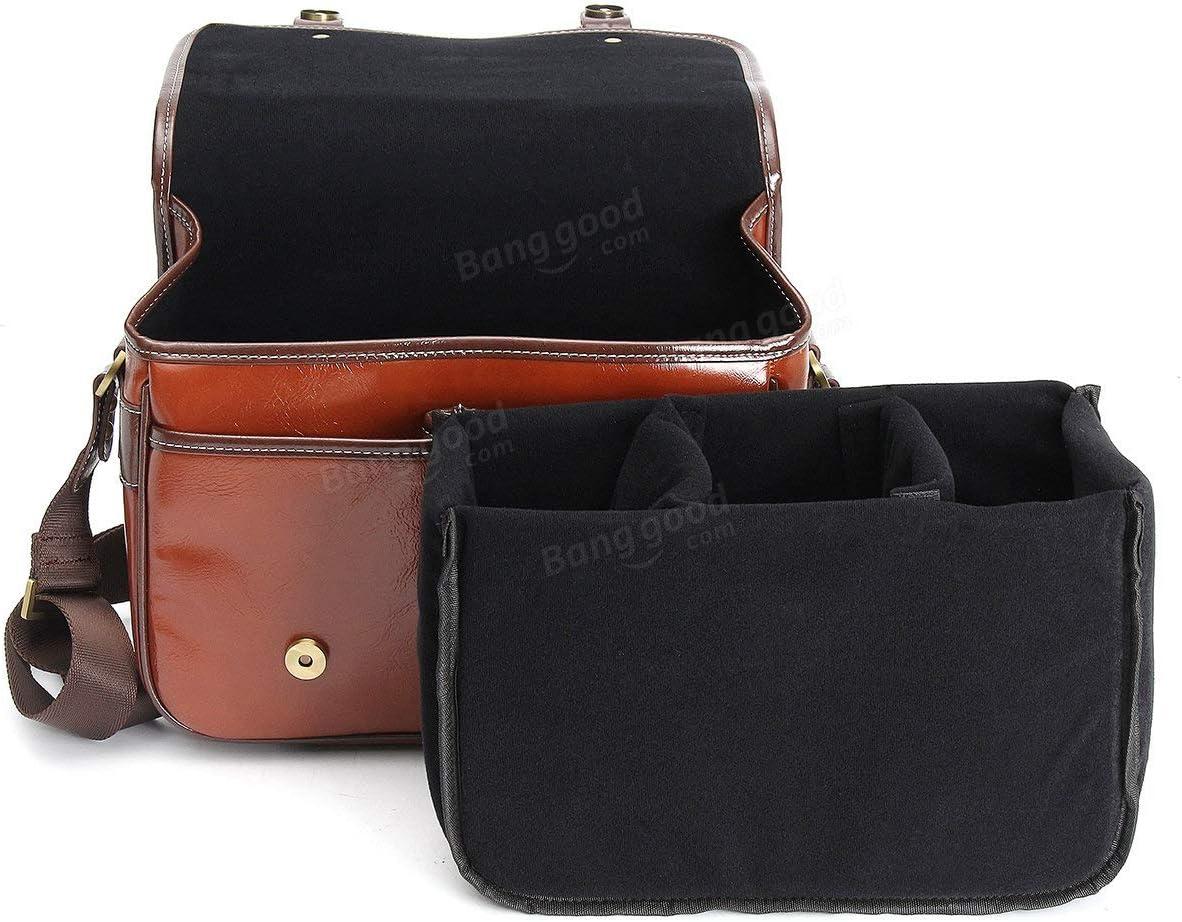 1 x PU Leather DSLR Camera Shoulder Bag Bags /& Straps Bags MITUHAKI Leather Waterproof Vintage DSLR SLR Camera Shoulder Bag for for Sony for