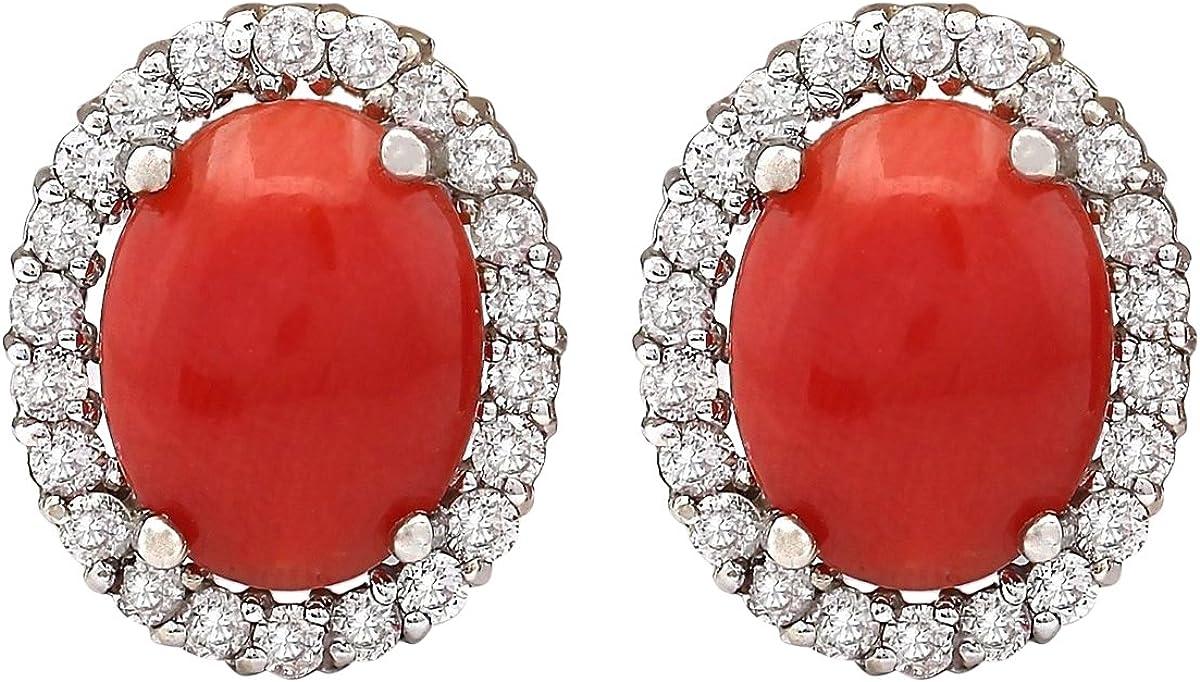 Pendientes de oro blanco de 14 quilates con coral rojo natural y diamante (F-G, claridad VS1-VS2) para mujer exclusivamente hechos a mano en Estados Unidos.