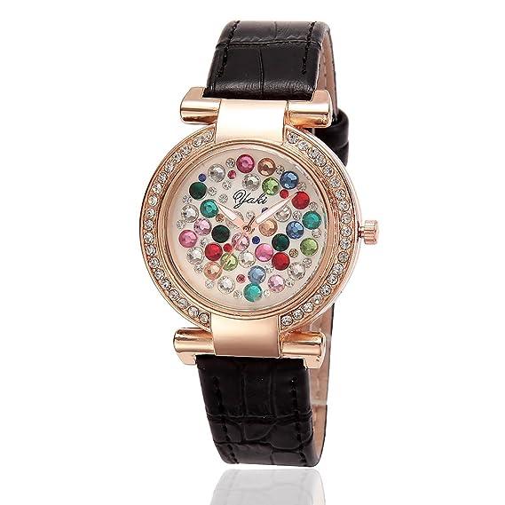 Yaki Mode Relojes Mujer Multicolor Brillantes Esfera Rose Golde Caja Negra Correa Piel Negro