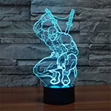 SmartEra® 3D Optical Illusion Mercenary Deadpool Nacht Dekorative Beleuchtung touch-Tasten 7 Farben ändern Decor LED Lampe
