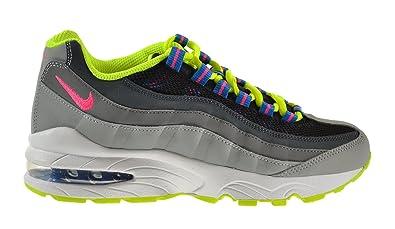 san francisco f79bf 8c8c1 NIKE Air Max 95 (GS) Big Kids Shoes Black Photo Blue-Volt-Light Magnet Grey  307565-053