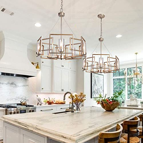 MEEROSEE Modern Chnadeliers Contemporary 5 Light Drum Chandelier Farmhouse Pendant Lighting Fixture