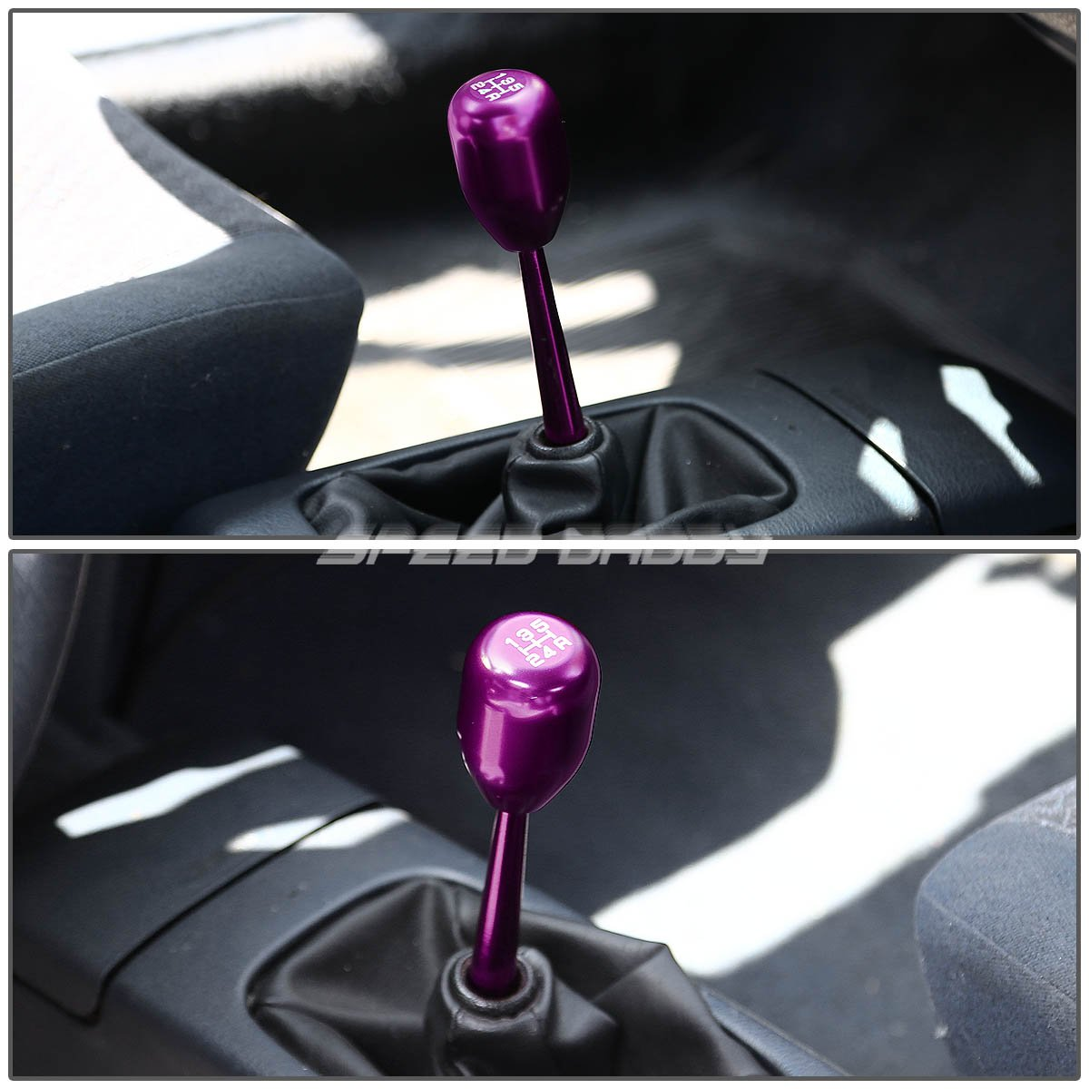 Purple For Civic//Del Sol//CRX//Integra Double Bend Short Throw Shifter+5-Speed Gear Knob