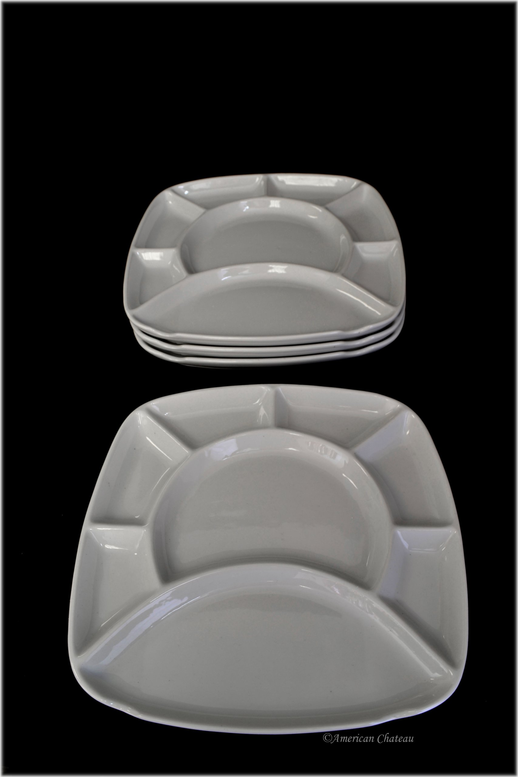 Set of 12 Square divided Chocolate/Cheese Fondue Plates