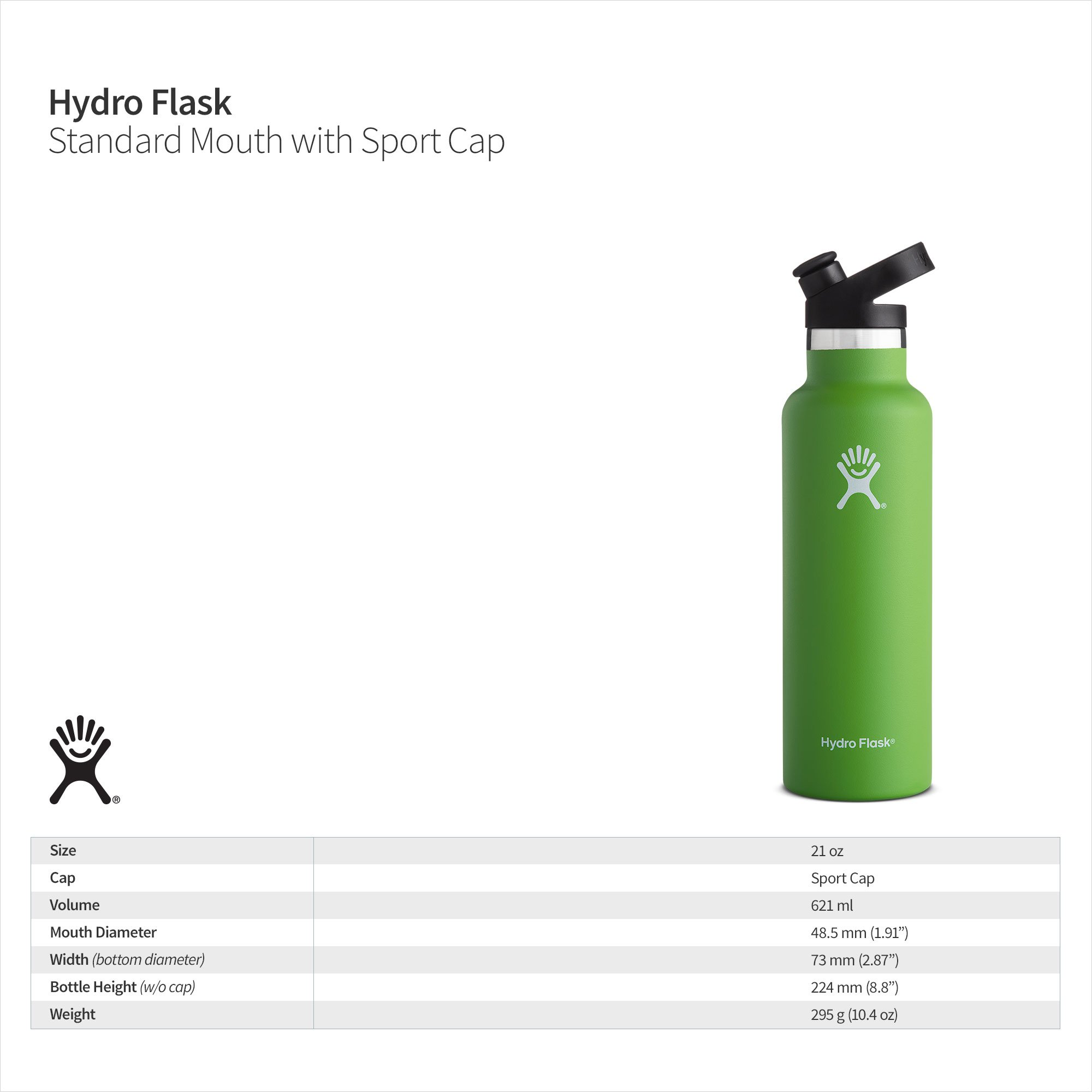 Hydro Flask 21 oz Double Wall Vacuum Insulated Stainless Steel Sports Water Bottle, Standard Mouth with BPA Free Sport Cap, Mint by Hydro Flask (Image #4)