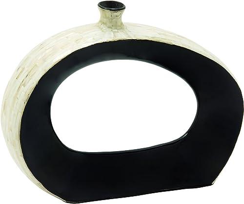 Deco 79 49080 Ceramic Inlay Vase, 15 x 12