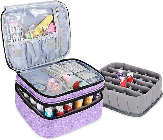 Luxja Organizador de esmaltes de uñas, esmaltes de uñas Estuche, Porta esmaltes de uñas- Sostiene 30 Botellas, Bolsa de Almacenamiento de Doble Capa para lacas y manicuras, Púrpura Claro: Amazon.es: Hogar