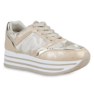 4f49e43ff3cbe5 Stiefelparadies Damen Schuhe Plateau Sneaker Glitzer Turnschuhe Schnürer  Plateauschuhe 158831 Gold Flandell  Amazon.de  Schuhe   Handtaschen