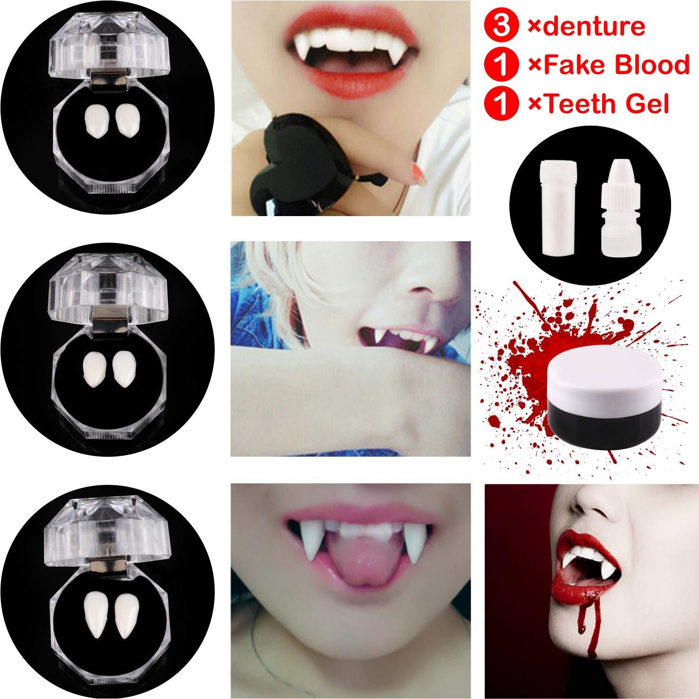 Jeicy Vampire Teeth Fangs 3 Pairs,Vampire Blood and Vampire Teeth Glue Set for Halloween