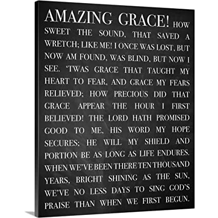 photo regarding Amazing Grace Lyrics Printable titled : Innovative Religion - Remarkable Grace Lyrics Canvas Wall