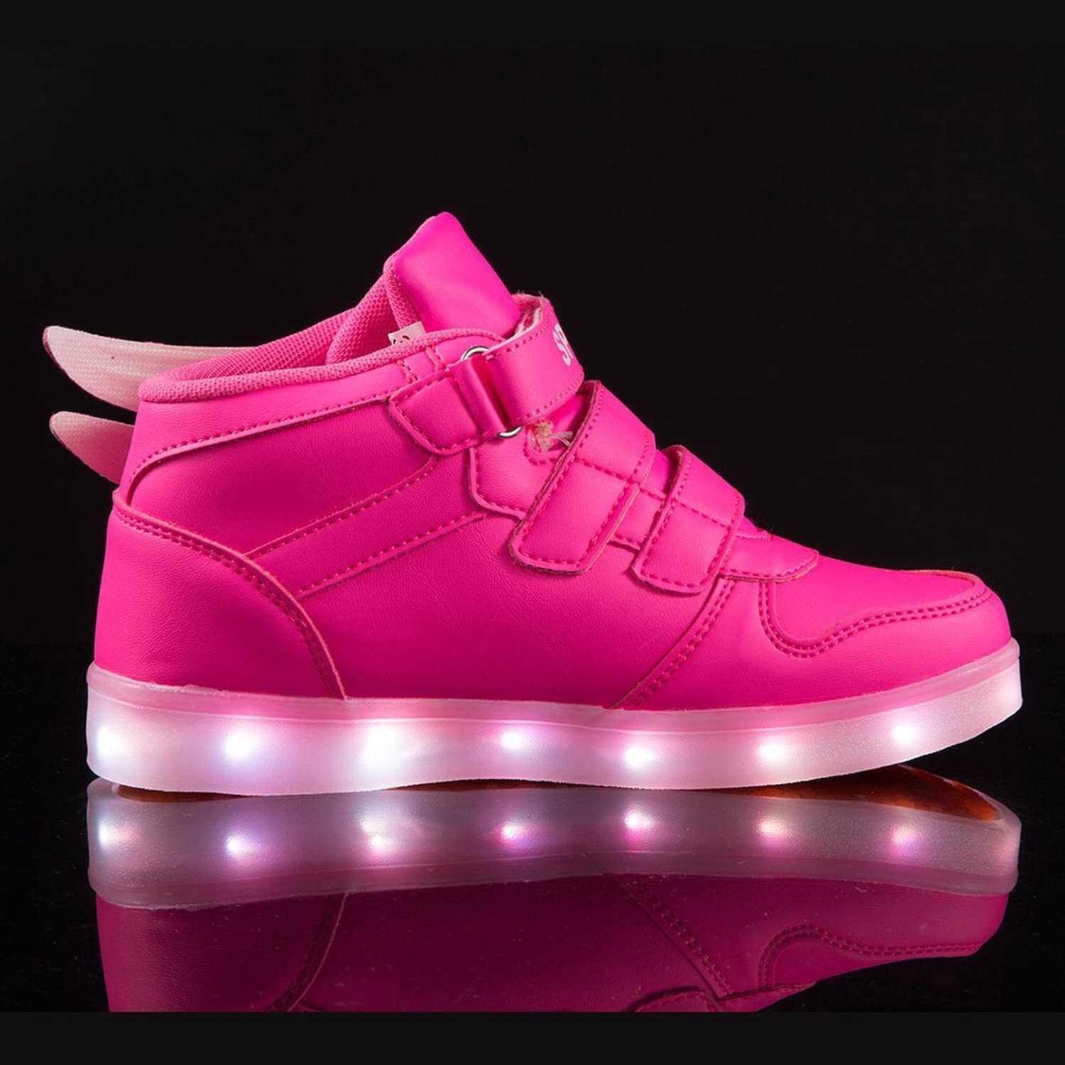 OUYAJI 11 Colors LED Light Up Wing Shoes High Top Flashing Sneakers for Kid/&Adult