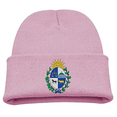OQHO12 Coat of Arms of Uruguay Kids Hat Warm Soft Fashion Cute Knitted Cap for Autumn Winter