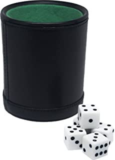 Amazoncom  Deluxe Dice Cup With  Standard Dice BlackCream - Vinyl dice cup