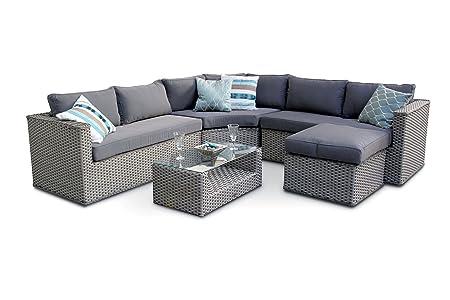 Brantwood Corner Modular Rattan Sofa Set   Whitewash Grey