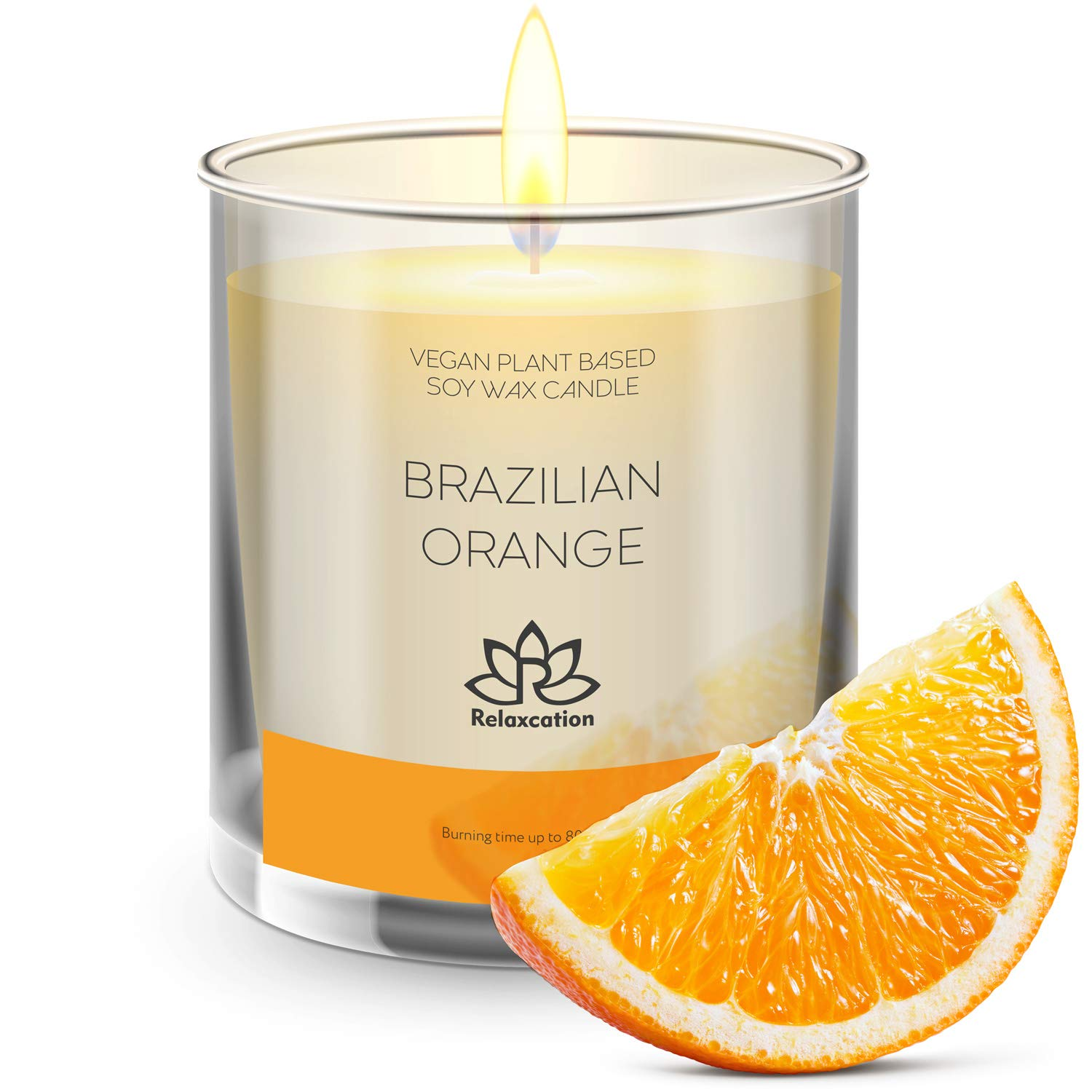 Amazon Com Natural Soy Wax Candle In Glass Jar Luxury Brazilian Orange Scented Soy Candles Fresh And Cheerfulness Long Burning 80 Hours Beauty