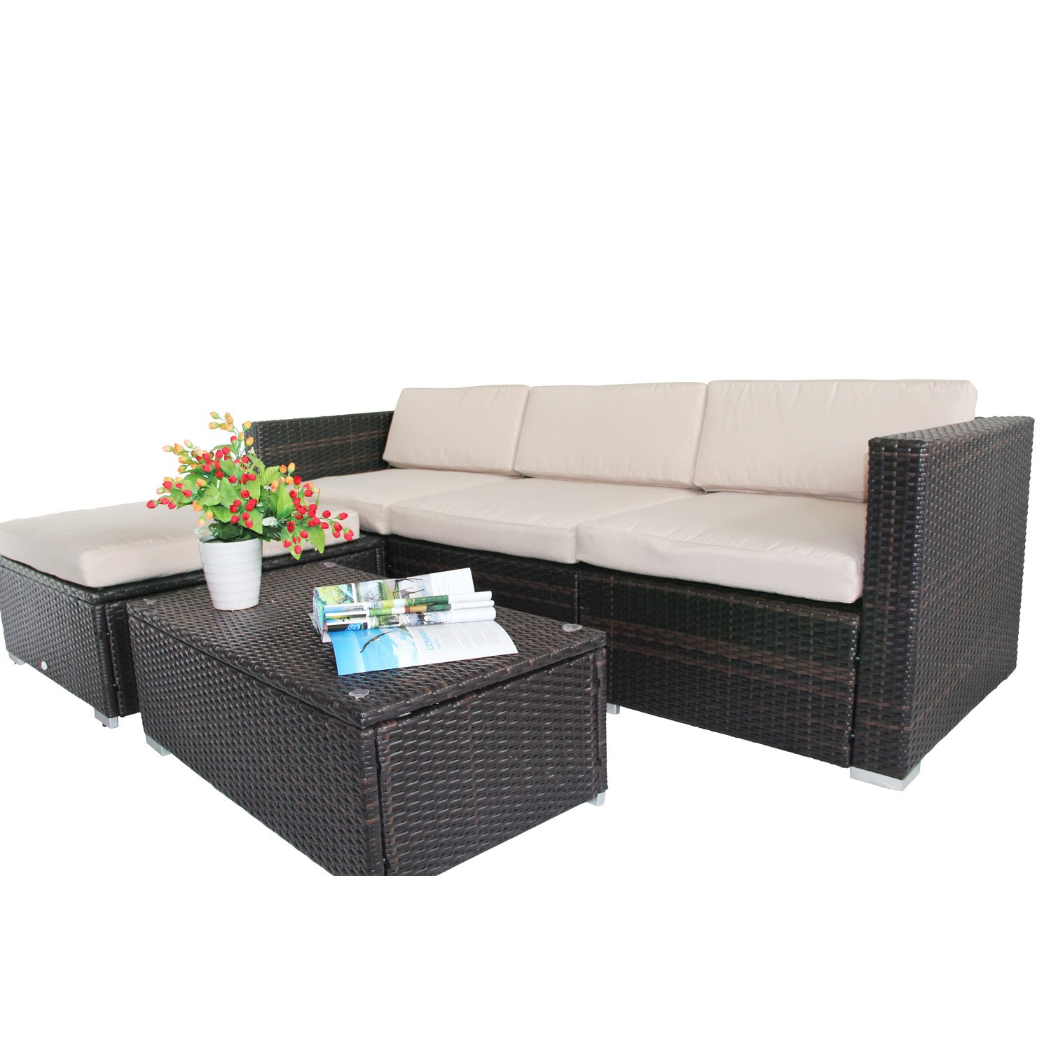 outsunny rattan garden wicker patio furniture cushion cover sofa