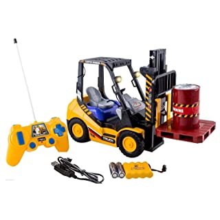 WolVol 6-Channel Electric Remote Control Forklift - Functional RC Lighted Fork Lift Toy w/ Pallet, Barrel, Rechargeable Batteries & Charger - Pretend Construction Playset for Kids