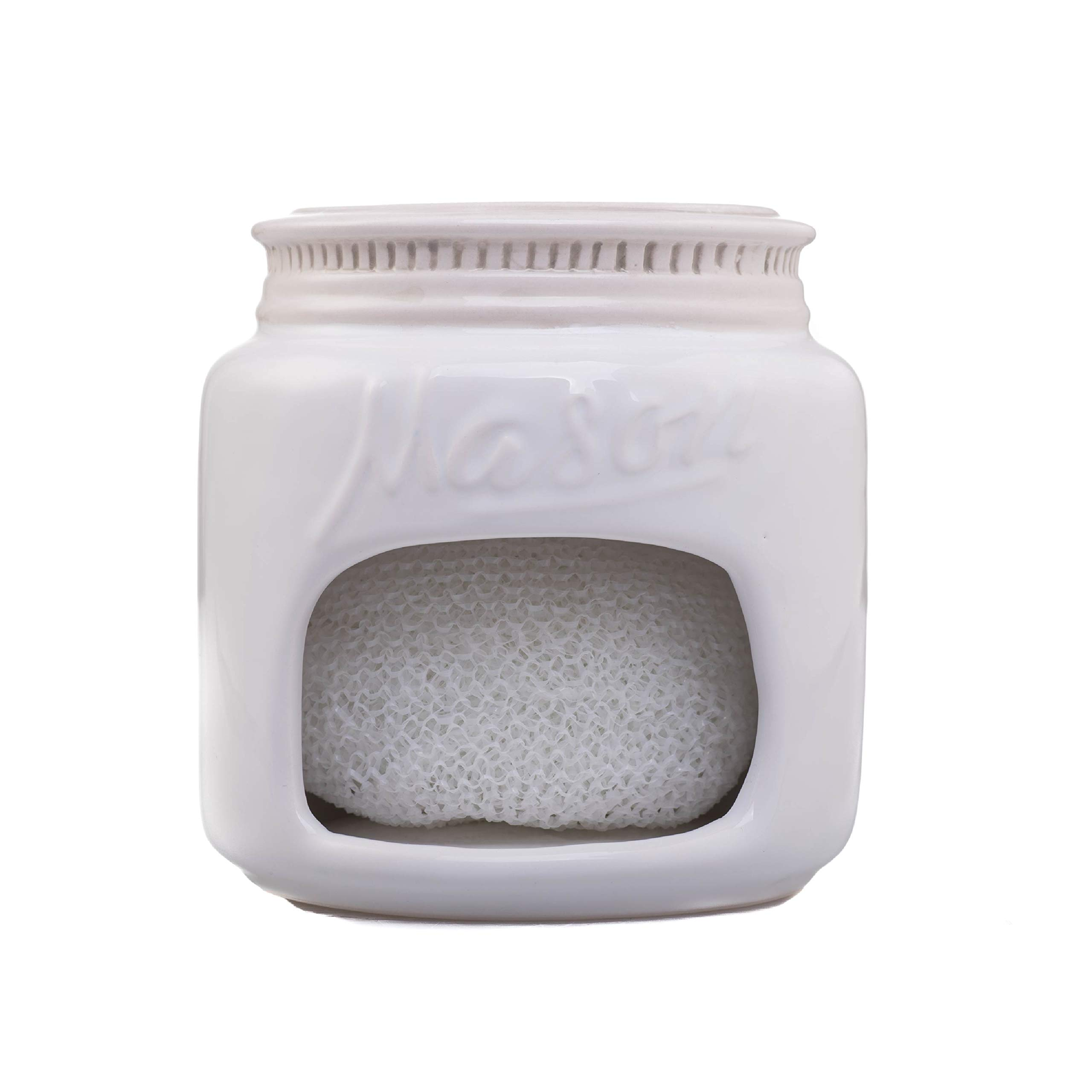 White Ceramic Mason Jar Kitchen Sponge Holder - Adorable Home Retro & Farmhouse Kitchen Decor - Amazing Rustic Accessory - Vintage Gift for Friends, Family and Collectors by Goodscious