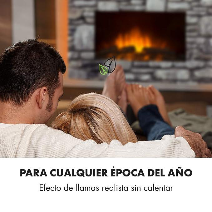 Klarstein Colmar • Chimenea eléctrica • Chimenea electrónica • Calefactor • Vidrio • hasta 2000 W • Luz Ambiental LED de 7 Colores • Efecto Llama ...