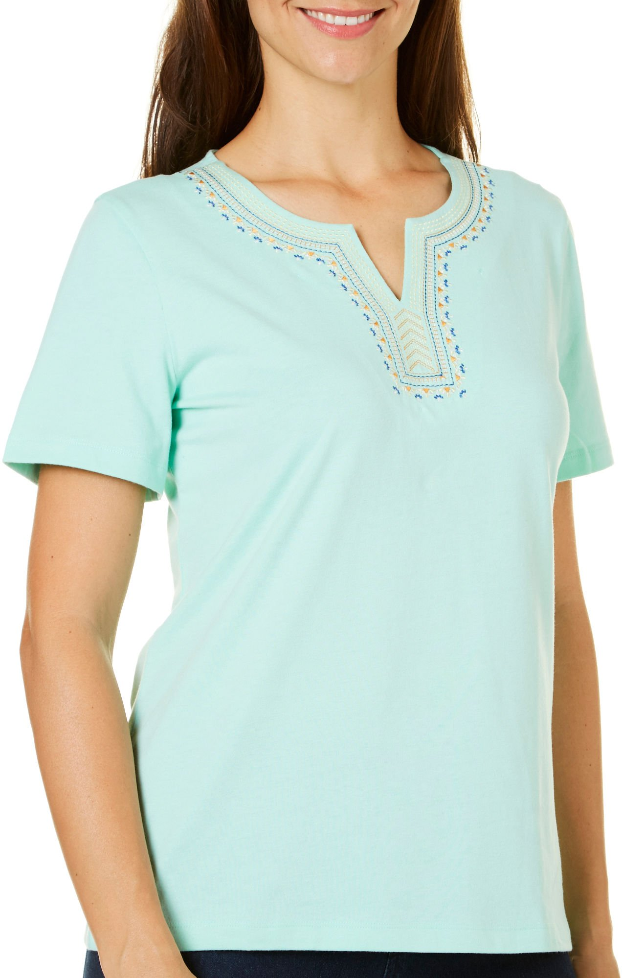Coral Bay Petite Embroidered Calypso Top X-Large Petite Beach Glass Teal Blue