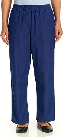 Short Length Alfred Dunner Womens Petite Polyester Pull-On Pants 18 Petite Short Navy