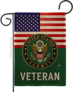 Army US Veteran Burlap Garden Flag Armed Forces Rangers United State American Military Retire Official Small Decorative Gift Yard House Banner Double-Sided Made in USA 13 X 18.5