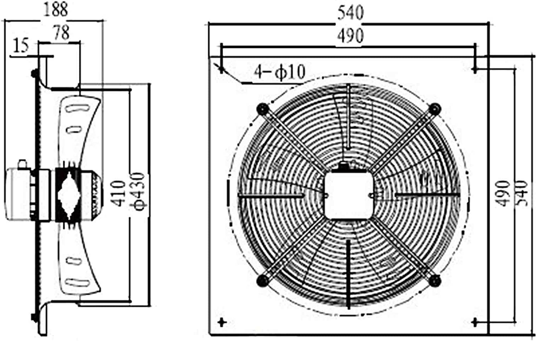 Axialventilator f/ür gewerbliche Bauluft