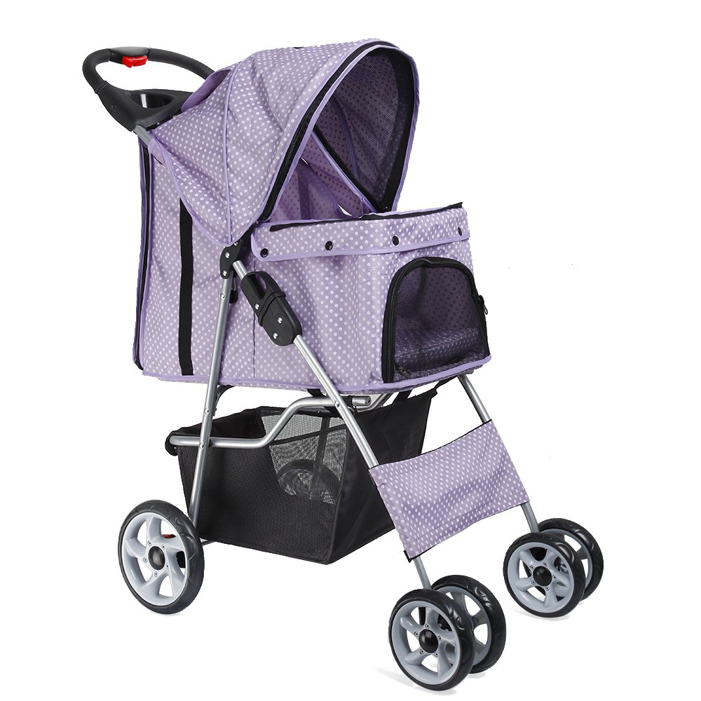 Flexzion Pet Stroller Dog Cat Small Animals Carrier Cage 4 Wheels Folding Flexible Easy Walk for Jogger Jogging Travel Up to 30 Pounds With Rain Cover Cup Holder and Mesh Window, Dot Purple