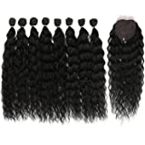 DÉBUT synthetic hair bundles with simple closure weave bundles with frontal swiss lace 9pcs Water Wave 20 inch 240g high…