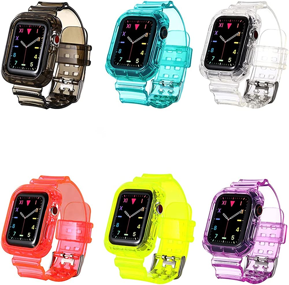 Compatible With Apple Watch Clear Band 40mm 38mm with Case, Women Cute Girl Crystal Clear Jelly Protective Case with Bands for Apple Series 3 Watch Band and Apple Watch 6 5 4 3 2 1 Transparent(6 pack)…