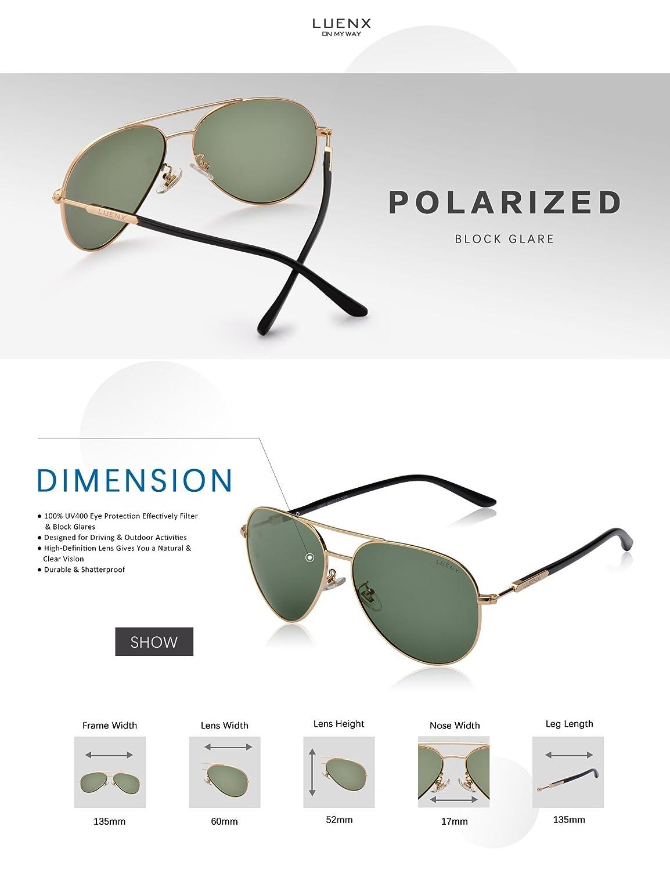 LUENX Damen Sonnenbrille Aviator Polarisiert mit Etui - UV 400 Schutz Spiegel Violett Linse Silber Rahmen 60mm 2rqmi