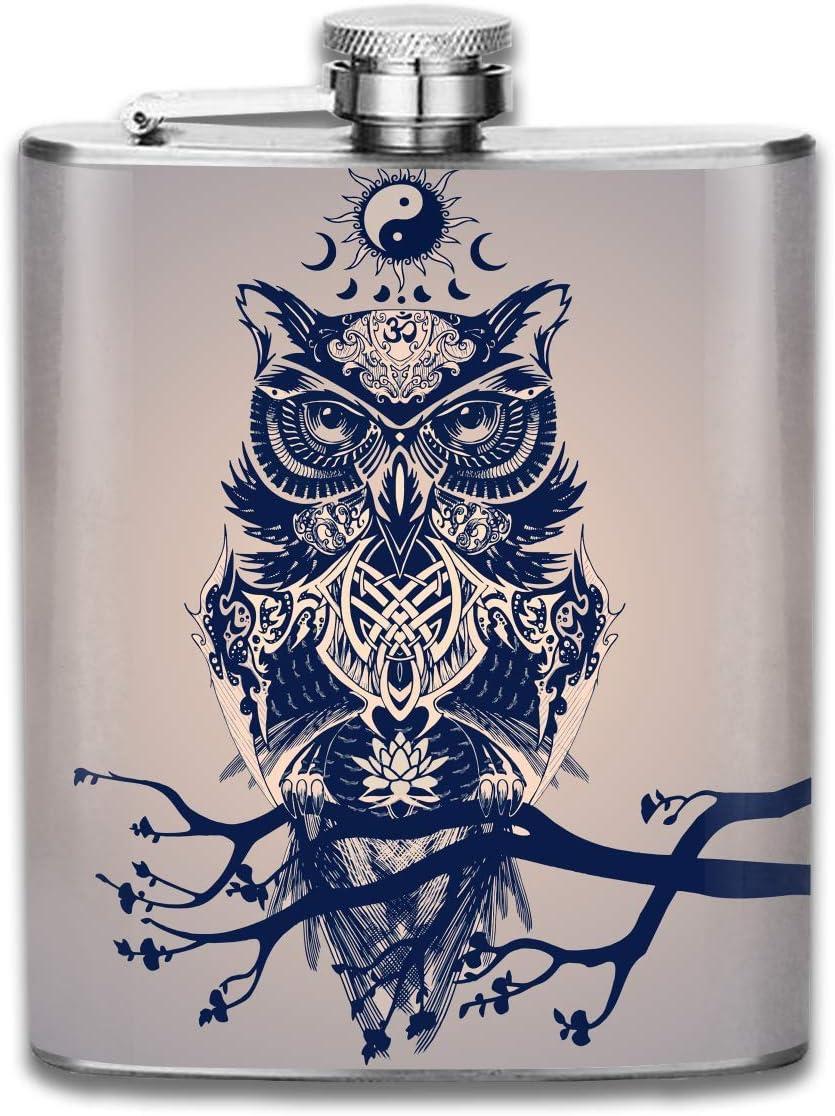 Frasco de la cadera del búho de Yin Yang para el alcohol 7oz de la botella del acero inoxidable del licor